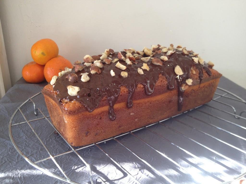 Cake marbré clémentine, chocolat et noisettes